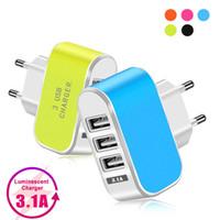EUA plug 3 usb parede de telefone celular carregadores LED adaptador viajar adaptador de energia conveniente com portas USB triplo para iphone 12 11 com caixa de varejo