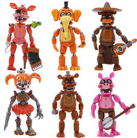 5.5 Inch cinco noites no Freddy PVC Action Figure Toy Bonnie Foxy boneca com luz destacável Figura presentes Dhl