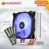 Fans-Kühlungen Huananzhi A500 4 Kupfer-Hitze-Rohr-LED-CPU-Kühler-Kühllüfter-Kühler-Dual-Kühlkörper mit 4 * 16g DDR3 RECC Combo Kit Set