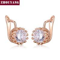 مسمار أعلى جودة التاج القرط ارتفع الذهب لون مجوهرات مصنوعة من الكريستال النمساوي الحقيقي ZYE610 ZYE611
