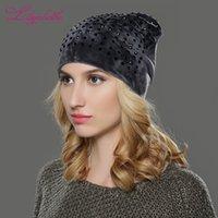 Beanie / Kafatası Kapaklar LiliyabaHe Kadınlar Sonbahar Ve Kış Şapka Bayanlar Kedi Kız Şapkalar Skullies Beanies Için Fluff Touca Stil