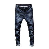 Neue Art und Weise beiläufige Persönlichkeit Geschäfts-Art-Loch-Qualitäts-Jeans Hip Hop Stickerei Herren Pure Blue Frühlings-lange Hosen Trend
