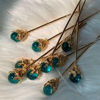 العصي 1PCS الأزرق الشعر مخلب لؤلؤة المباشر لوحة دبوس الشعر الأحمر الزفاف الأبيض غطاء الرأس الشعر المجوهرات والحلي النمط الصيني القديم