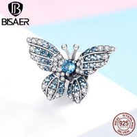 BISAER Hot Sale 925 Sterling Silver Crystal Butterfly Beads Zircon Charms fit for Bracelets Bangles Silver 925 Jewelry EFC061