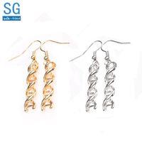 Chinkly Chastelier SG Gold ДНК Серьги Молекулярные Женщины Девушки Подарок Мода Брюнок Ювелирные Изделия