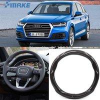 Smrke de coches Accesorios para Audi Q7 Negro de fibra de carbono volante de cuero cubierta del deporte de carreras de coches Styling
