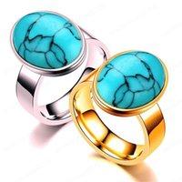 Retro turquesa anel de diamante ouro anéis de aço mulheres mens moda banda de anel de presente da jóia inoxidável novo