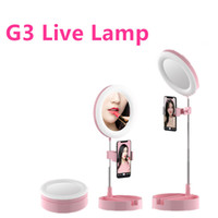 G3 LED retrátil selfie Anel Luz Regulável lâmpada Anel iluminação fotográfica Tripé para composição Live Camera LED Corrente