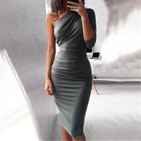 Designer Mulheres Bodycon Vestido com faixas Slant Collar Magro Mulher Vestidoes Sexy Plus Size Ladies Robe