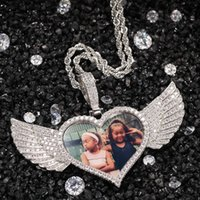Kanatlar Hafıza Madalyon kolye kolye ile tenis Zinciri Hip Hop Takı ile Kolye Altın Gümüş Özel Fotoğraf Kübik zirkon Kişiselleştirilmiş