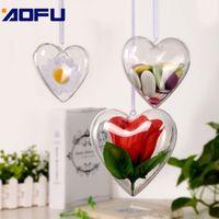 60pcs Coeur Transparent Boule de Noël Ornement de bricolage en plastique transparent Fillable Boule d'arbre de Noël Décorations Ornanment