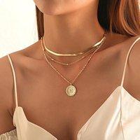 carta de moneda de oro de Bohemia de la vendimia de la cadena de capas para mujeres de la mariposa de Shell de la perla del collar del ahogador largo de la Luna colgante, collar