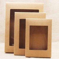 20pcs papier bricolage Boîte avec fenêtre blanc / noir / Papier kraft boîte-cadeau gâteau Emballage Party Accueil mariage Muffin Emballage