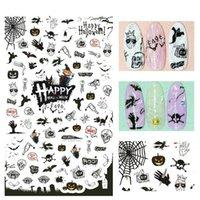 Tırnak Sticker 3D İpuçları Dekorasyon İçin Yeni Cadılar Bayramı Bat Cadı Sticker Nail Art Design Su Transferi Kürsörler Çıkartmaları