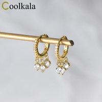 Hoop & Huggie Coolkala Silver Buckle Women's Hipster Diamond-inlaid Short Three Rhinestone Ear Rings Elegant Tassel Earrings