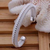 Armband vrouwen bruiloft meisjes favoriete geschenk mode zilveren kleur sieraden prachtige retro mooie twist midline net ronde armband B021