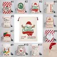 DHL nave natale natale santa sacchi di cotone tela sacchetti di cotone grande pesante borse con cordoncino borse regalo personalizzate festival partito decorazione natalizia FY4249