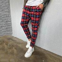 Pantolon Moda Erkek Skinny Kalem Pantolon Günlük Sade Stil Erkek Jogger Pantolon Erkek Designer yazdır kareli Cepler