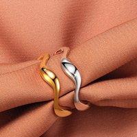 Простая Стиль Wave Shaped Открытого кольца Женщина волна палец кольцо Золото Серебро Бижутерия Аксессуары для подарков партии