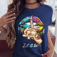 T-shirt casual o collo Maglie a manica corta Shut Up Gesto estate delle donne del progettista magliette abbigliamento Lips donne del modello