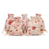 Рождественские мешки Drawstring Хлопок Лен муфту- Сумка Ткань Кошельки Xmas шаблон джута мешок Детский конфеты Подарки для хранения сумка Переносной бумажники D9809