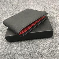 Niemiecki styl portfel męski posiadacz karty Krótki klip Miękka skóra Wysokiej jakości tkanina składana kunszt z zestawem pudełka