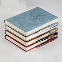 Bloco de notas 360 Página A5 Notebook Vintage Cervos Padrão PU Escrita de couro Papelaria Escolar de Escola de Negócios