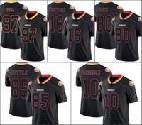 "São Francisco ""49ers"" homens # 16 Joe Montana 85 George Kittle 10 Jimmy Garoppolo 97 Nick Bosa Mulheres Juventude Luzes Black Rush Jersey"