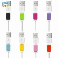 3000PCS / الكثير متعدد الألوان USB كيبل حامي شاحن الهاتف المحمول الحبل حامي سيليكون على الخط فون واقية من السيليكون لف كليب