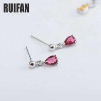 Ruifan linda forma de lágrima rojo / Color Amarillo Circonita Pendientes de cristal para las mujeres 925 Pendientes de plata esterlina joyería YEA187