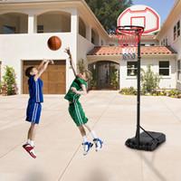 US Stock Nuovo sistema di cerchio di pallacanestro regolabile Sistema del sistema del sistema del capretto dell interno dell'interno dell'out esterno w / ruote per il teenager sportivo di pallacanestro