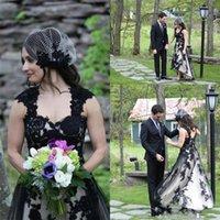 Vestido vestido de novia Alto Bajo Negro gótico Cap mangas Vestidos de novia estilo de país apliques de tul de la vendimia sin respaldo de Bohemia boda 2020 146