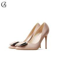GOXEOU Женск Satin 4 цвета площади пряжки пальца ноги Остроконечные Высокие каблуки Свадьба Управление Мода Женская обувь Размер 32-46