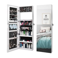 WACO Jewelries Organizer Mirror, Storage Furniture Wall-mounted or Hanging Necklace Hooks, Jewelry Armoire Display Storages Rack Shelf Dressers Cabinet White