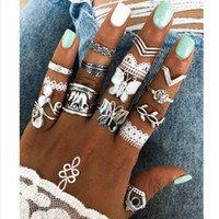 Retro Butterfly Elephant Crown Rings Ancient silver Joint knuckle ring jewelry set women stacking rings band will and sandy new