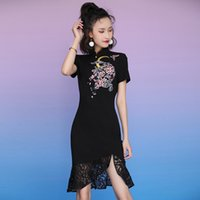 Hot Sale 2020 Summer new Chinese Embroidered Dress style young girl improved black embroidery sexy cheongsam dress