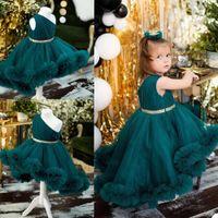 Привет-Lo Green Hunter девушка Pageant платье рюши одно плеча девушка дня рождения платья сшитых складки платье девушка цветок