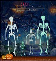 LED مضيئة الهياكل العظمية هالوين الدعائم نيون هيكل عظمي مسكون بار ازياء البيت هالوين زخارف 1.5 متر ديكور المنزل