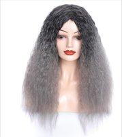 Бесплатная доставка ночной клуб мода женские длинные вьющиеся волосы головной убор черный бабушка серый цвет градиент Gradient Grange Perm парик длинные волосы