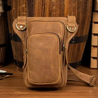 Men' s Vintage Crazy Horse Leather Holster Waist Crossbo...