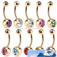 Oro de acero inoxidable Rhinestone Crystal ombligo joyería del anillo del ombligo Bar perforación del cuerpo