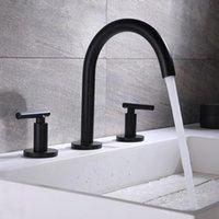 Bacia banheiro torneira da casa de banho Deck Montado generalizada Titular dupla Três Buraco Hot Cold Water Mixer Black / Chrome / Rose Gold Tap