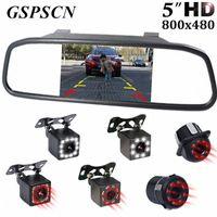 """GSPSCN 5"""" Car monitor a specchio retrovisore macchina fotografica di retrovisione di TFT-CCD video Parcheggio per automobili Kit infraredNight Vision retromarcia auto-styling BzhS #"""