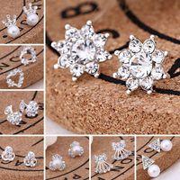 카드 팩 / 귀 뒤로, 45 개 스타일 한국어 귀걸이 크리 에이 티브 슈퍼 빛나는 다이아몬드 새로운 진주 스터드 귀걸이 패션 보석 높은 품질