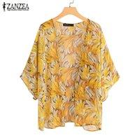 2020 ZANZEA Мода печати кимоно мыс женщины шифон блузка кардиганы пляжного рукав Blusa Плюс Размер прикрывает Тунику
