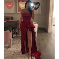 Wein-Rot-Split-formale Partei-Nixe-lange Abendkleid Robe 2021 Strapless Satin Damen Abendkleider vestidos arabes fiesta