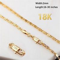 18K الذهب الأصفر وصلة سلسلة قلادة 2mm في شقة سلسلة قصيرة الترقوة سلسلة المرأة قلادة قلادة للرجال الهيب هوب مجوهرات هدية في السائبة
