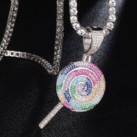 Hip Hop CZ Stein Bling Out Tennis Kette Regenbogen-Lutscher-Anhänger-Halskette für Männer Frauen Unisex Rapper Schmuck