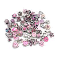 Freies Verschiffen 40 stücke Strassperlen Antike Silber Farbe Matal Charms Perlen Fit Europäischen Pandora Charms Armband DIY 8 Farben auf Verkauf