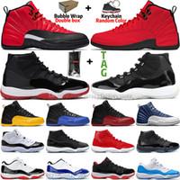 Yüksek 11 11s 25th Yıldönümü Bred Düşük Mavi Concord 45 Uzay Reçeli Erkek Basketbol Ayakkabıları 12 12 S Indigo Ters Grip oyunu Kraliyet Fiba CNY Sneakers